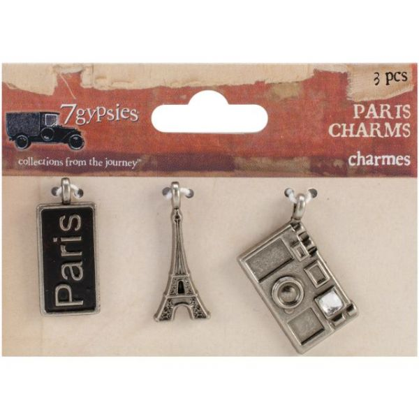 "Paris Metal Charms 1""X.5"" To 1""X.75"" 3/Pkg"