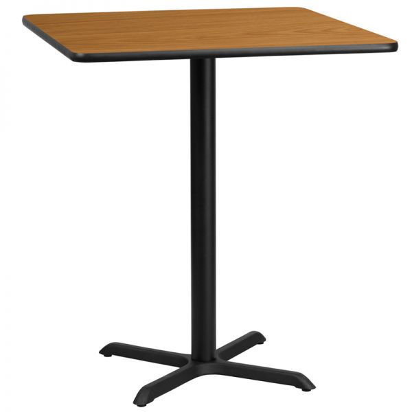 Flash Furniture 36'' Square Natural Laminate Table Top with 30'' x 30'' Bar Height Table Base