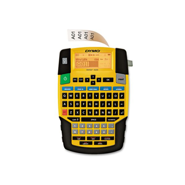 DYMO Rhino 4200 Basic Industrial Handheld Label Maker, 1 Line, 4 3/50x8 23/50x2 6/25