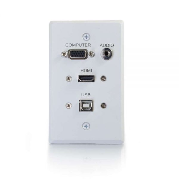 C2G HDMI, VGA, 3.5mm Audio and USB Pass Through Single Gang Wall Plate - White