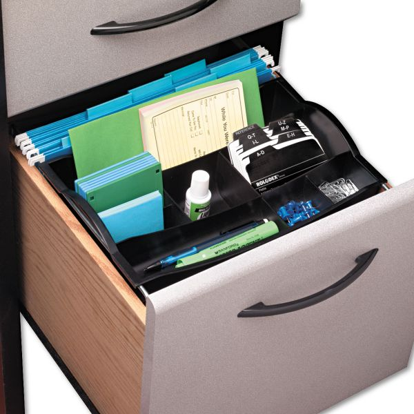 Multi-Compartment Hanging Desk Drwr Organizer, Plastic, BLK