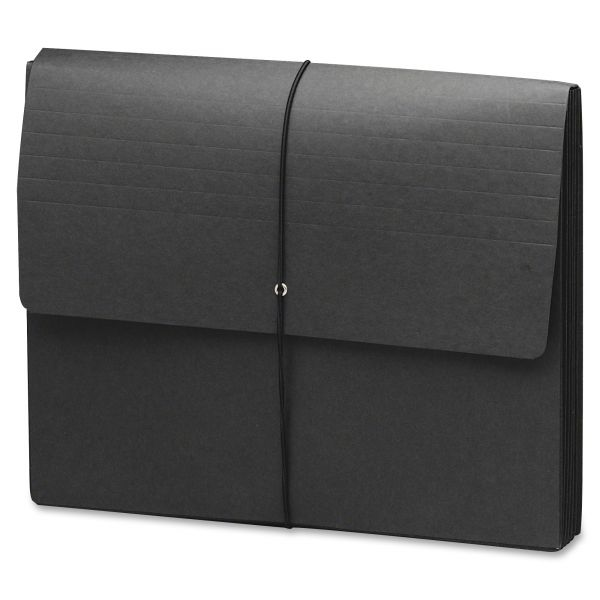 Smead 71119 Black Extra Wide Expanding Wallets with Elastic Cord