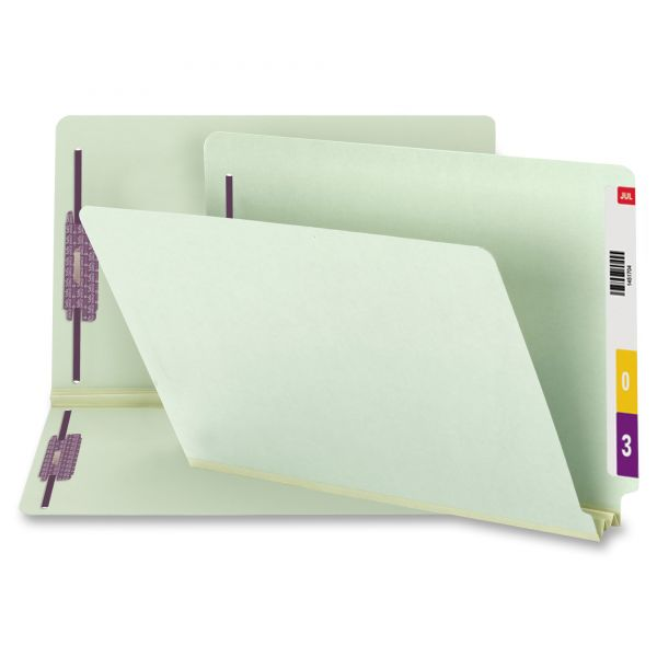 Smead 37715 Gray/Green End Tab Pressboard Fastener File Folders with SafeSHIELD Fasteners