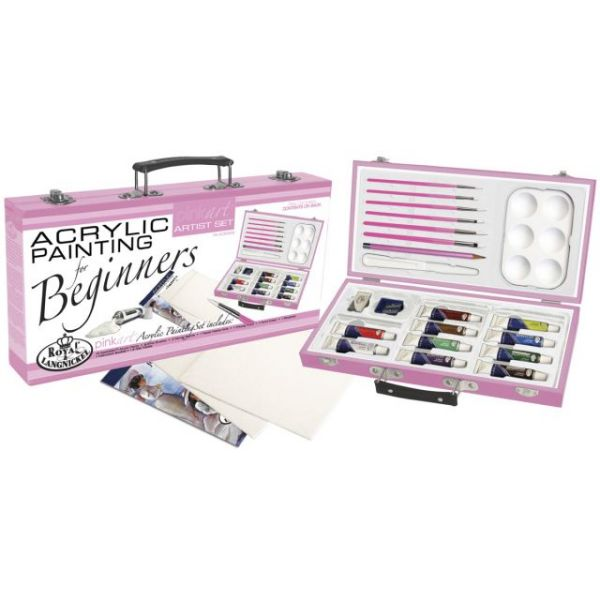 Pink Beginners Acrylic Painting Artist Kit