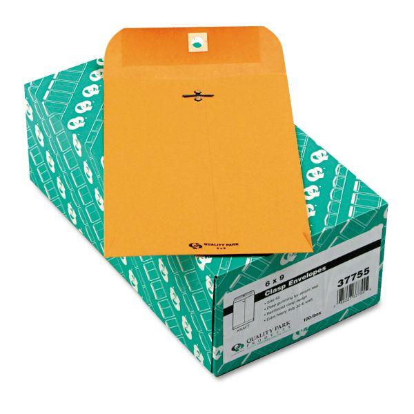 Quality Park Clasp Envelope, #55, 6 x 9, 32lb, Brown Kraft, 100/Box