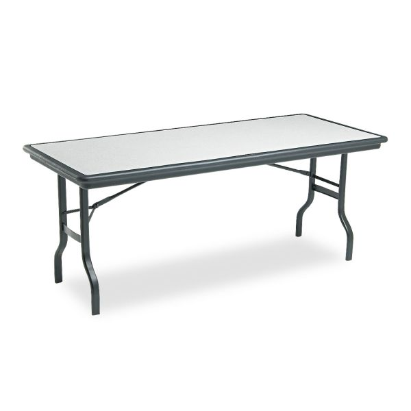 Iceberg IndestrucTables Resin Rectangular Folding Table, 72w x 30d x 29h, Granite/Black