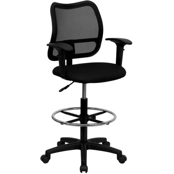 Flash Furniture Mid-Back Mesh Drafting Chair with Height Adjustable Arms