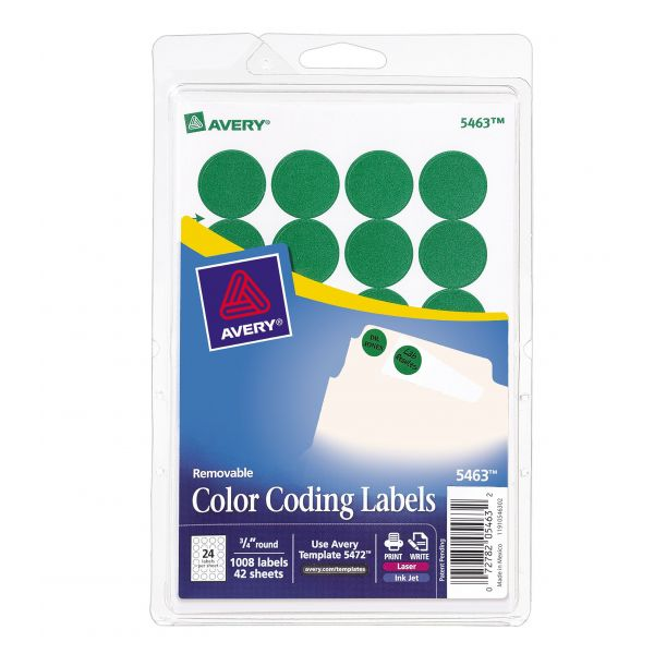 """Avery Printable Removable Color-Coding Labels, 3/4"""" dia, Green, 1008/Pack"""