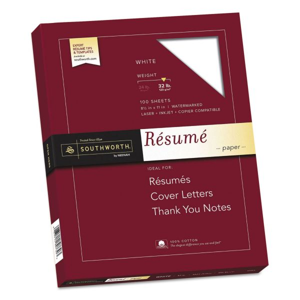 Southworth 100% Cotton Resume Paper, 32lb, 95 Bright, 8 1/2 x 11, White, 100 Sheets