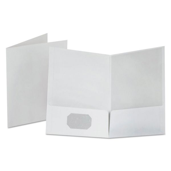 Oxford Linen Finish Twin Pocket Folders, 100-Sheet Capacity, White, 25/Box
