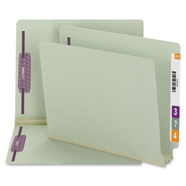 Smead 34725 Gray/Green End Tab Pressboard Fastener File Folders with SafeSHIELD Fasteners