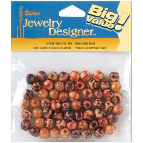 Darice Jewelry Designer Wood Barrel Beads