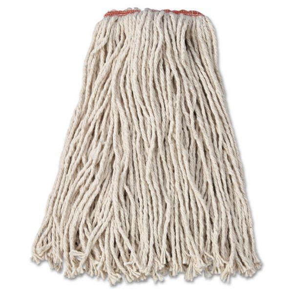 """Rubbermaid Commercial Premium Cut-End Cotton Wet Mop Head, 16oz, White, 1"""" Orange Band, 12/Carton"""