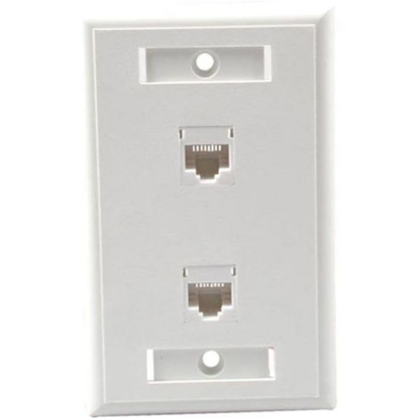 C2G Dual Cat5E RJ45 Configured Wall Plate - White