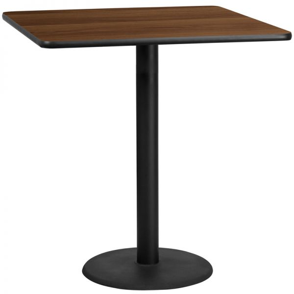Flash Furniture 42'' Square Walnut Laminate Table Top with 24'' Round Bar Height Table Base