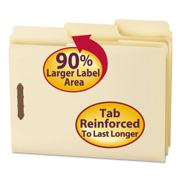 Smead Manila SuperTab Fastener File Folders with Oversized Tab