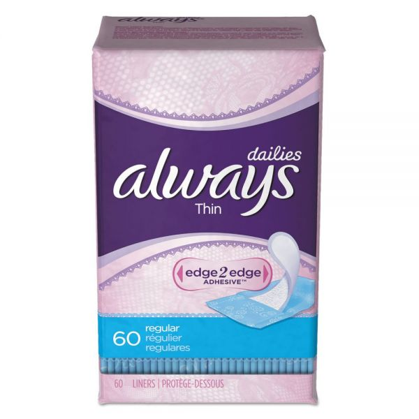 Always Dailies Thin Liners, Regular, 60/Pack
