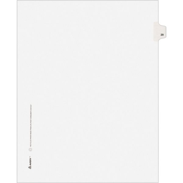 Avery Allstate-Style Legal Exhibit Side Tab Divider, Title: 29, Letter, White, 25/Pack