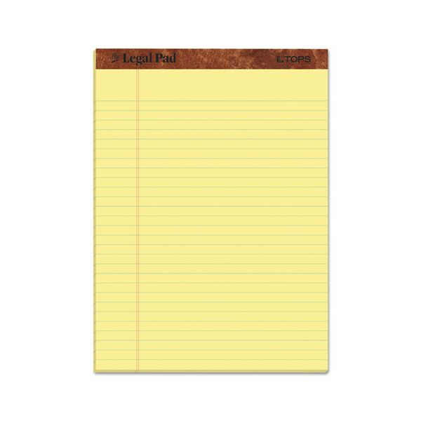 "TOPS ""The Legal Pad"" Ruled Perforated Pads, 8 1/2 x 11 3/4, Canary, 50 Sheets, Dozen"