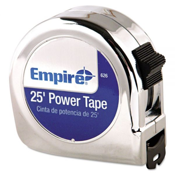 "Empire Power Tape Measure, 1"" x 25ft, Metal Case, Chrome, 1/16"" Graduation"