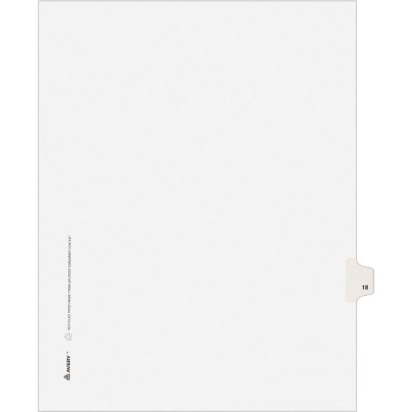 Avery Allstate-Style Legal Exhibit Side Tab Divider, Title: 18, Letter, White, 25/Pack