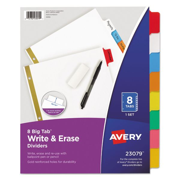 Avery Write & Erase Big Tab Paper Dividers, 8-Tab, Multi-color Tab, Letter, 1 Set