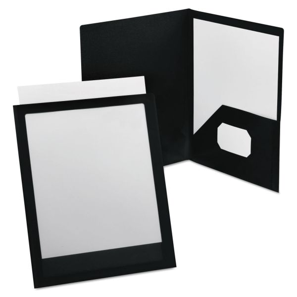 Oxford ViewFolio Polypropylene Portfolio, 50-Sheet Capacity, Black/Clear