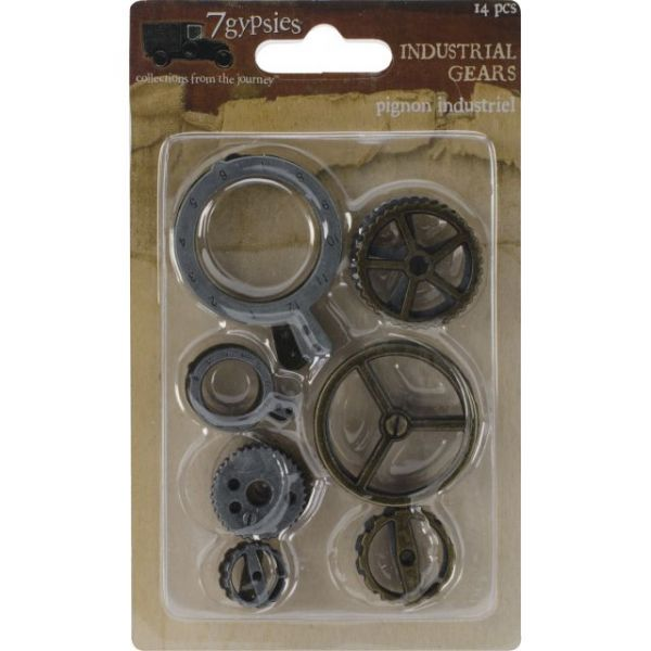 "Gear Metal Charms .5""X.5"" To 1.75""X1.25"" 14/Pkg"