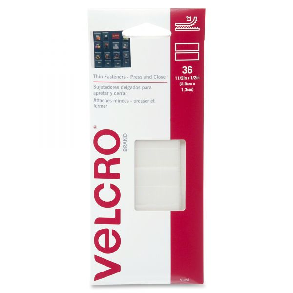 "Velcro Removable Hook & Loop Fasteners, 1 1/4"" Square & 7/8"" Coin, White, 36 Sets"