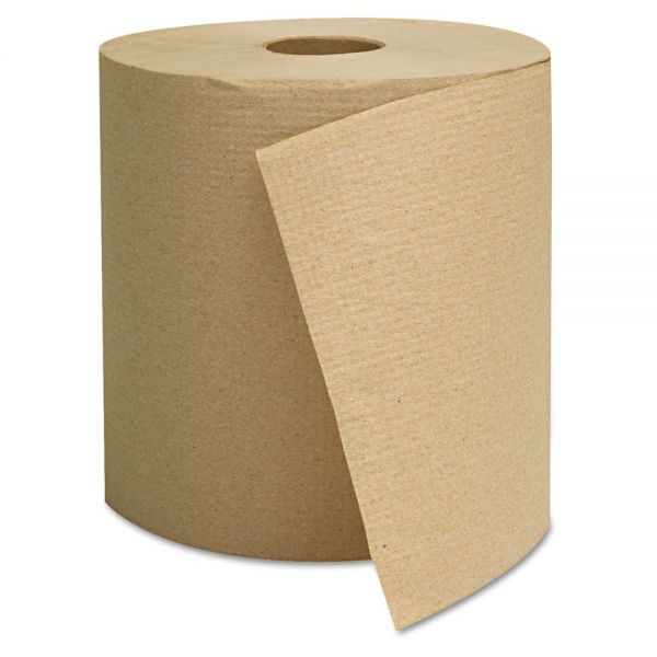 GEN Hardwound Towels, Brown, 1-Ply, Brown, 800ft, 6 Rolls/Carton