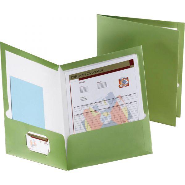 Oxford Two-Pocket Laminated Folder, 100-Sheet Capacity, Metallic Green, 25/Box