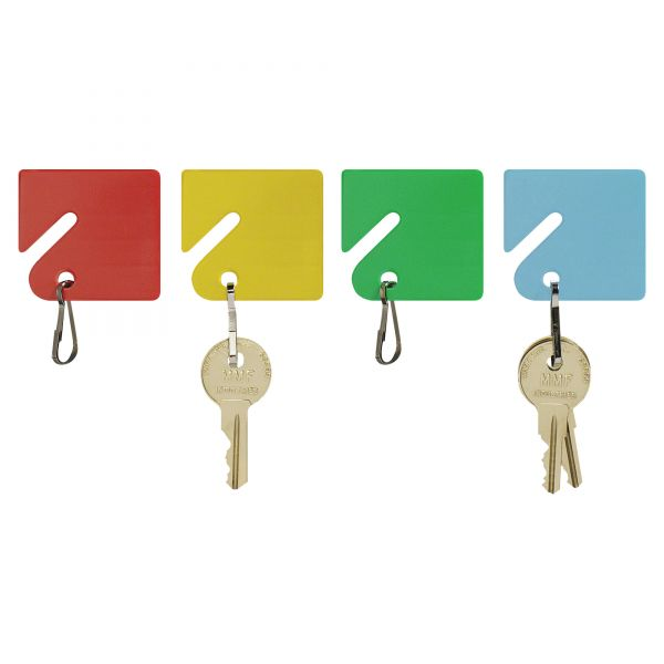 """MMF Industries Slotted Rack Key Tags, Plastic, 1 1/2""""h, Blue/Green/Red/Yellow, 20 per Pack"""