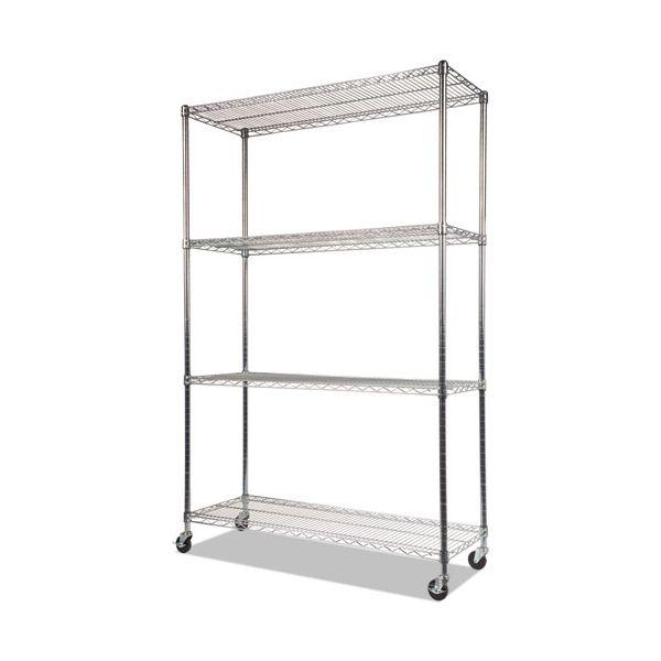Alera Complete Wire Shelving Unit w/Caster, Four-Shelf, 48 x 18 x 72, Silver