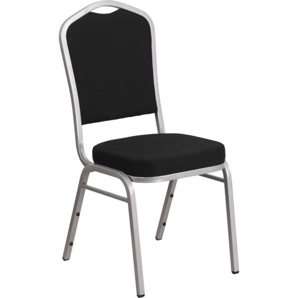 Flash Furniture HERCULES Series Crown Back Stacking Banquet Chair with Black Fabric and 2.5'' Thick Seat - Silver Frame