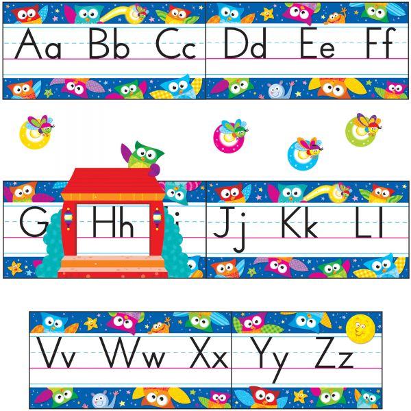 Trend Owl-Stars Alphabet Manuscript Bulltn Brd Set