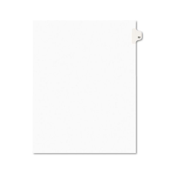 Avery-Style Legal Exhibit Side Tab Divider, Title: 52, Letter, White, 25/Pack