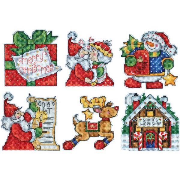 Santa's Workshop Ornaments Counted Cross Stitch Kit