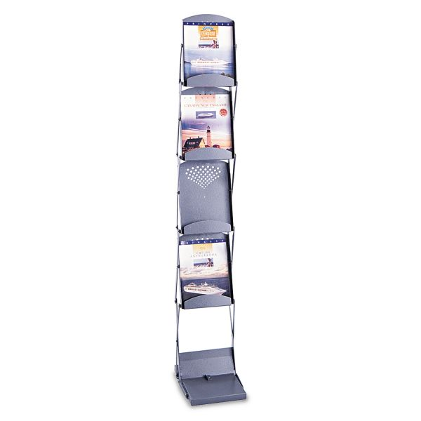 Safco Powder Coated Steel Portable Folding Literature Display Rack, Gray