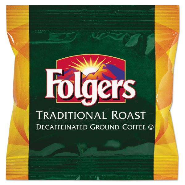 Folgers Ground Coffee Fraction Packs, Traditional  Roast Decaf, 1.5oz, 42/Carton