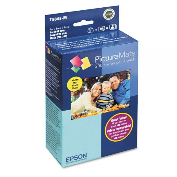 Epson T5845M (T5845-M) PictureMate 200 Print Pack, Tri-Color Ink & Matte Photo Paper