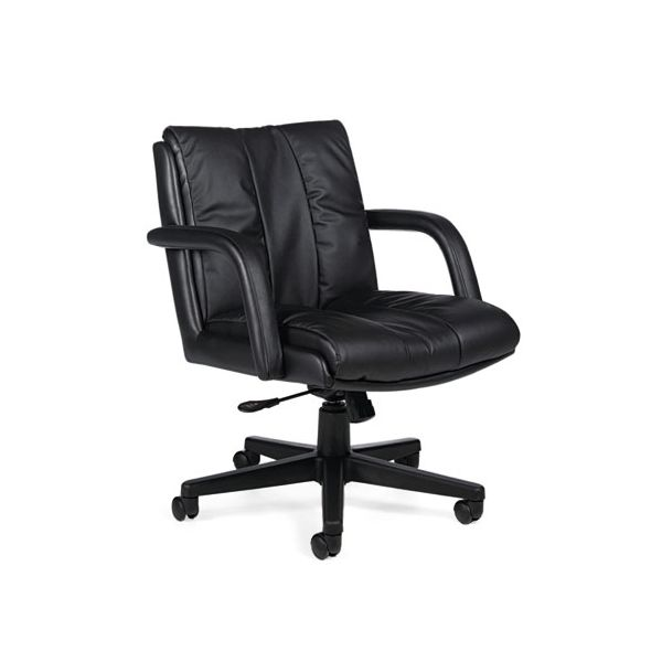 Global Series Leather Low-Back Office Chair with Arms