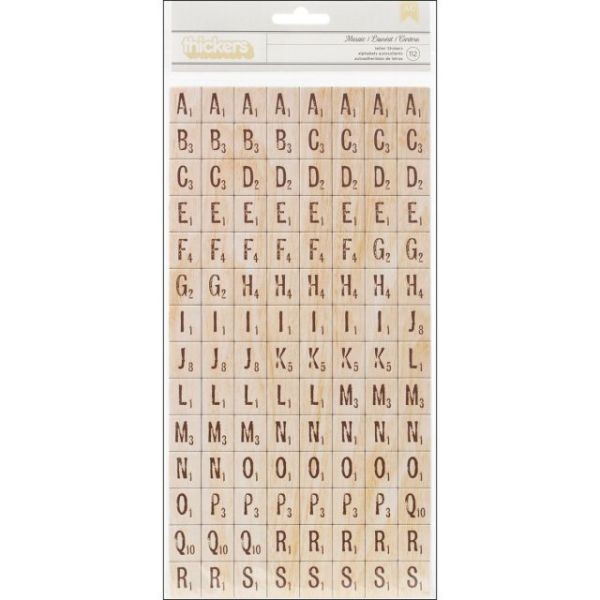 American Crafts Thickers Tile Printed Chipboard Alphabet Stickers