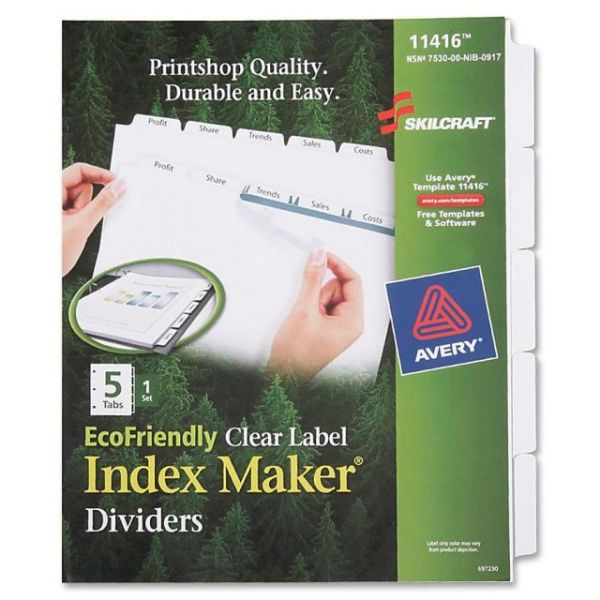 Avery EcoFriendly Clear Label Index Maker Dividers