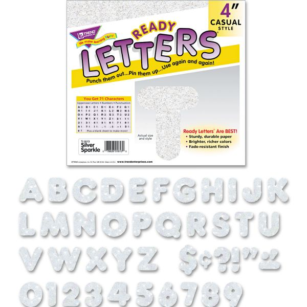 """TREND Ready Letters Sparkles Letter Set, Silver Sparkle, 4""""h, 71/Set"""
