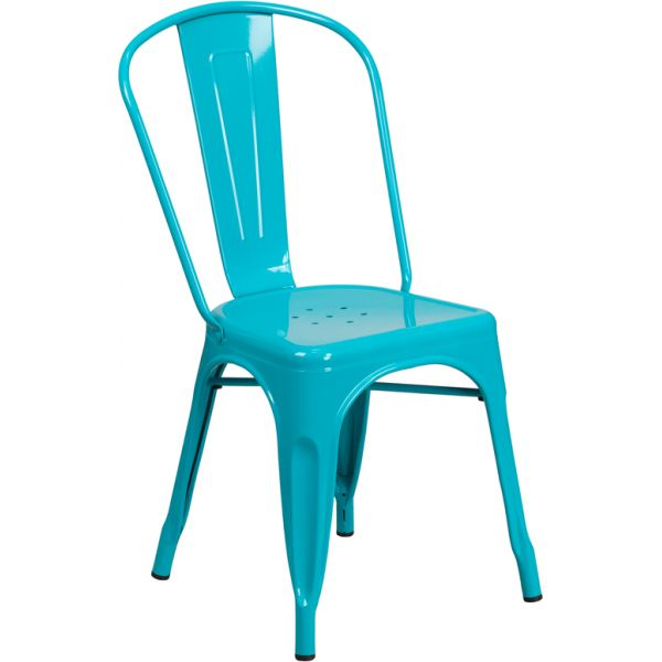 Flash Furniture Crystal Teal-Blue Metal Indoor-Outdoor Stackable Chair