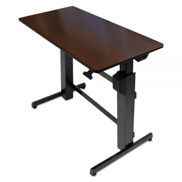 Ergotron WorkFit D Sit-Stand Workstation, 47 5/8 x 23 1/2 x 50 5/8, Walnut/Black