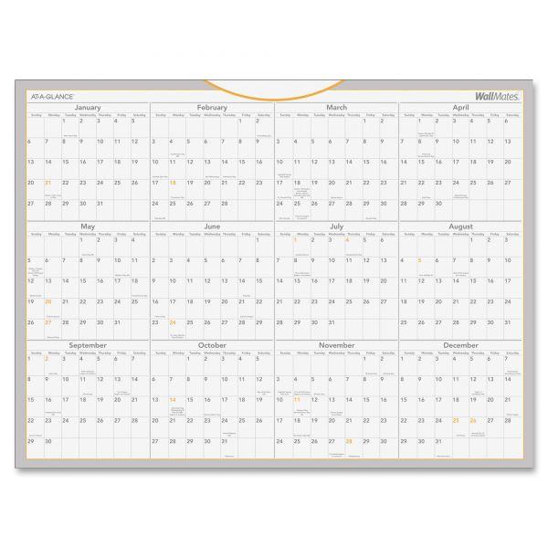 AT-A-GLANCE WallMates Self-Adhesive Dry Erase Yearly Wall Calendar