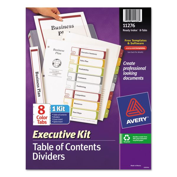 Avery Executive Kit Index 8-Tab Numbered Dividers With Table Of Contents Page