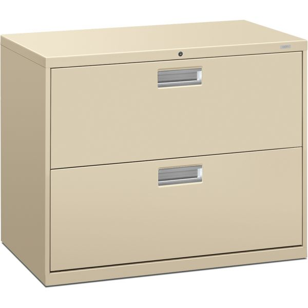 HON 600 Series Two-Drawer Lateral File, 36w x 19-1/4d, Putty