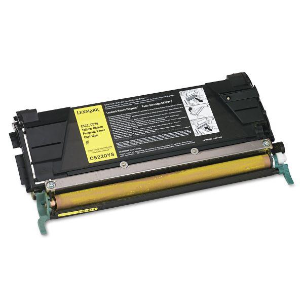 Lexmark C5220YS Return Program Toner, 3000 Page-Yield, Yellow